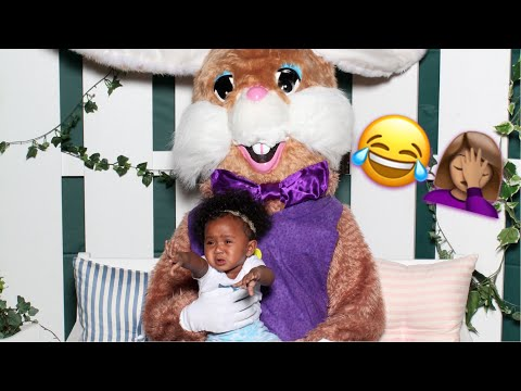 A'moura's Reaction to the Easter Bunny!