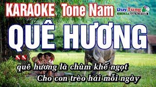 Karaoke || Quê Hương - Tone Nam || Nhạc Sống Duy Tùng
