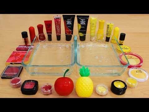 Cherry vs Pineapple - Mixing Makeup Eyeshadow Into Slime Special Series 162 Satisfying Slime Video
