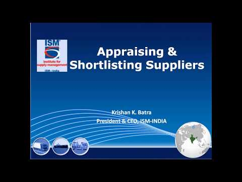 Appraising & Shortlisting Suppliers