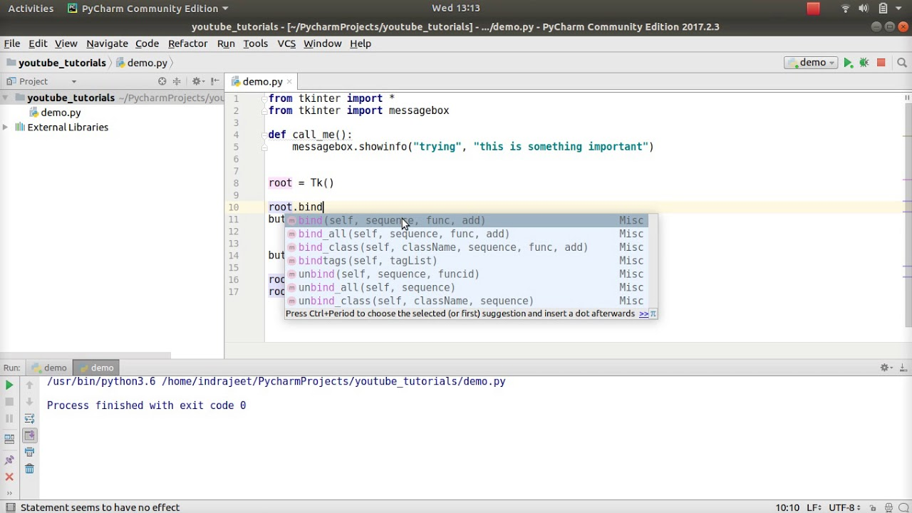 Python GUI Tutorial - 44 - using shortcut keys in tkinter