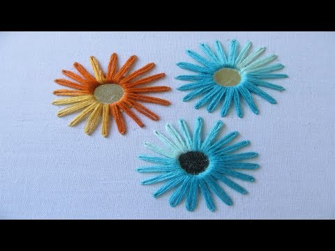 Hand Embroidery | Mirror Work With Lazy Daisy Stitch | Hand Embroidery Designs #12