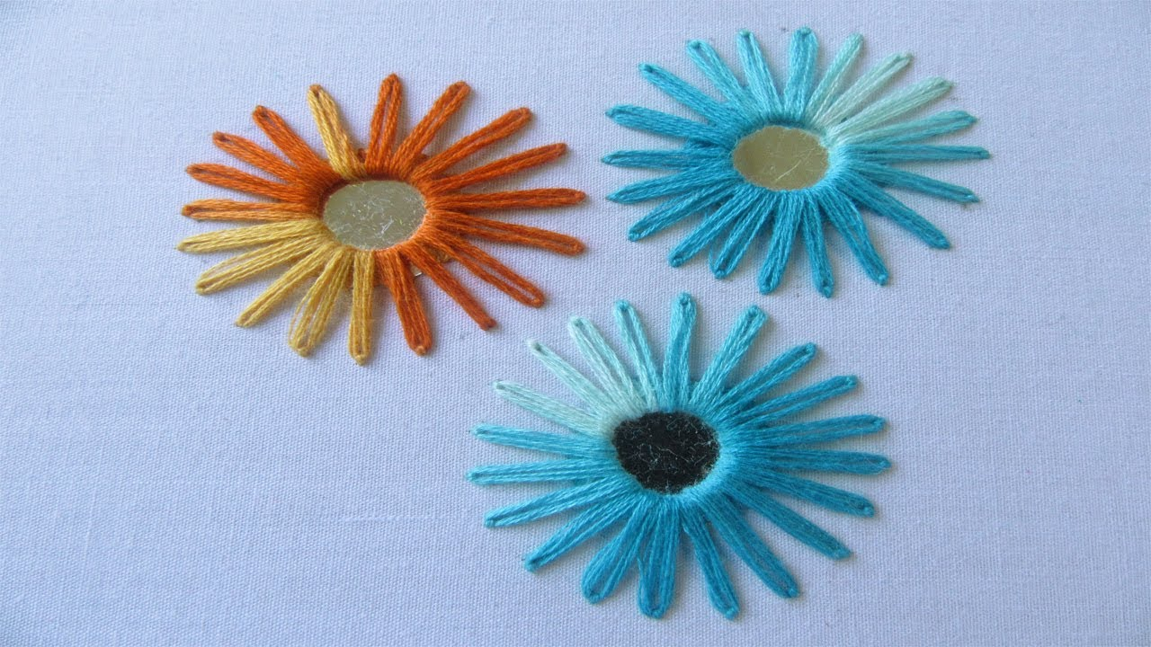 Hand embroidery mirror work with lazy daisy stitch
