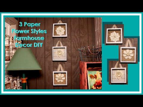 Dollar Tree DIY Farmhouse Paper Flower Wall Decor