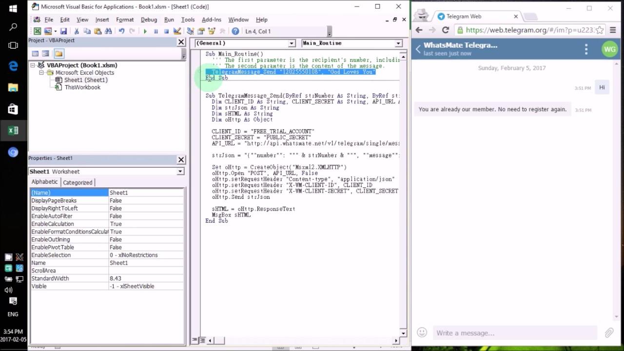 How to send Telegram messages in VBA / VB Script