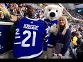 Kenyan hockey player Ben Azegere with Sidney Crosby - Leafs vs Penguins game - October 18, 2018