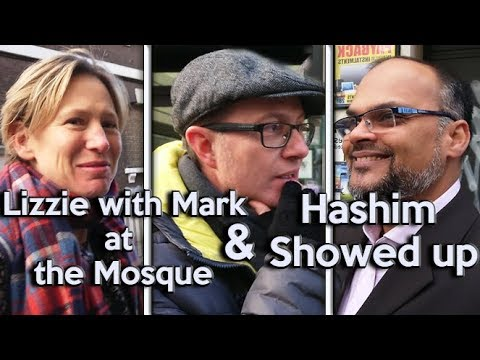 Lizzie with Mark at the Mosque and Hashim showed up !!!