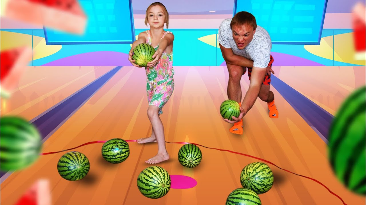 Fun Curling watermelons game of dad and daughter. entertainment channel kids videos for kids