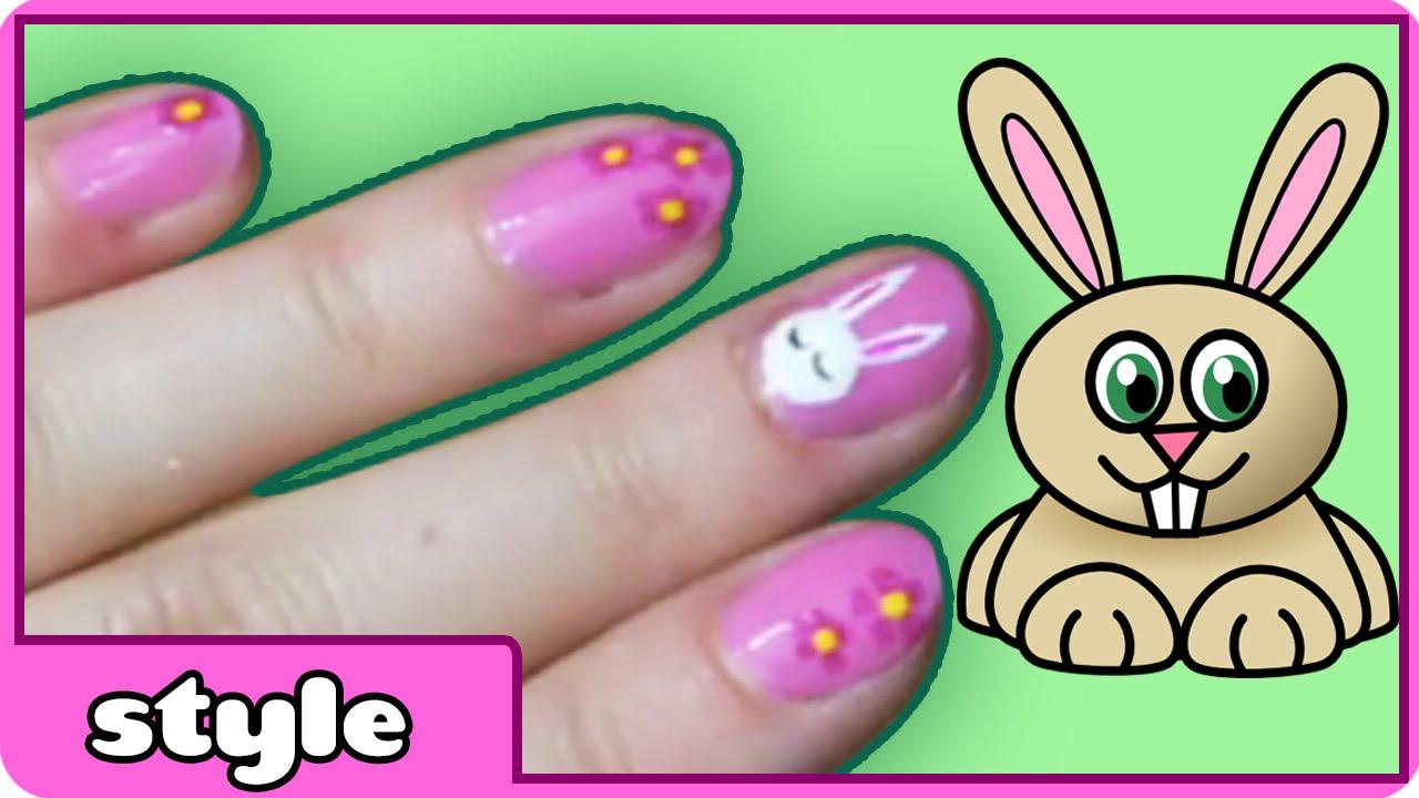 Cute easter bunny nail art diy nail art designs for spring bunny nails youtube Diy nail art ideas youtube
