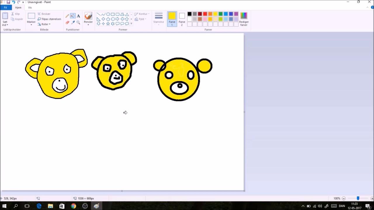 Lær; hvordan tegner man i paint, for børn og nybegynder, lektion 1 med musen Metermål