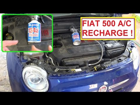 How to Recharge the A/C System on FIAT 500   Fiat 500 Air Conditioning  CHARGE