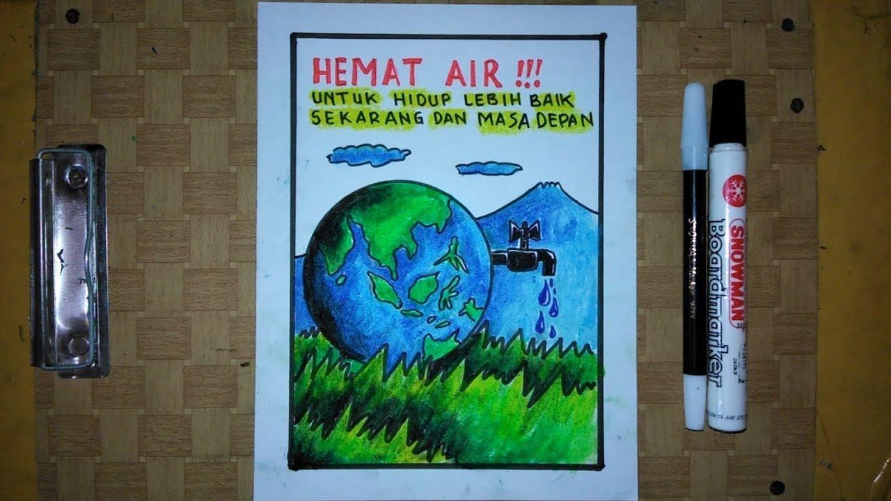 Cara Membuat Poster Hemat Energi Air Youtube
