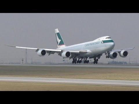 Cathay Pacific Cargo 747-867F [B-LJF] Landing at Calgary Airport ᴴᴰ