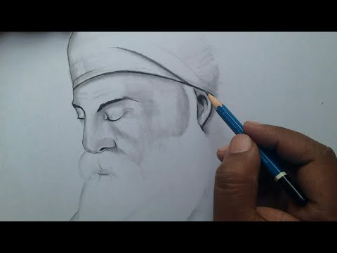Guru Nanak Dev Ji Drawing Easy For Beginners / Guru Parv Celebrating Drawing