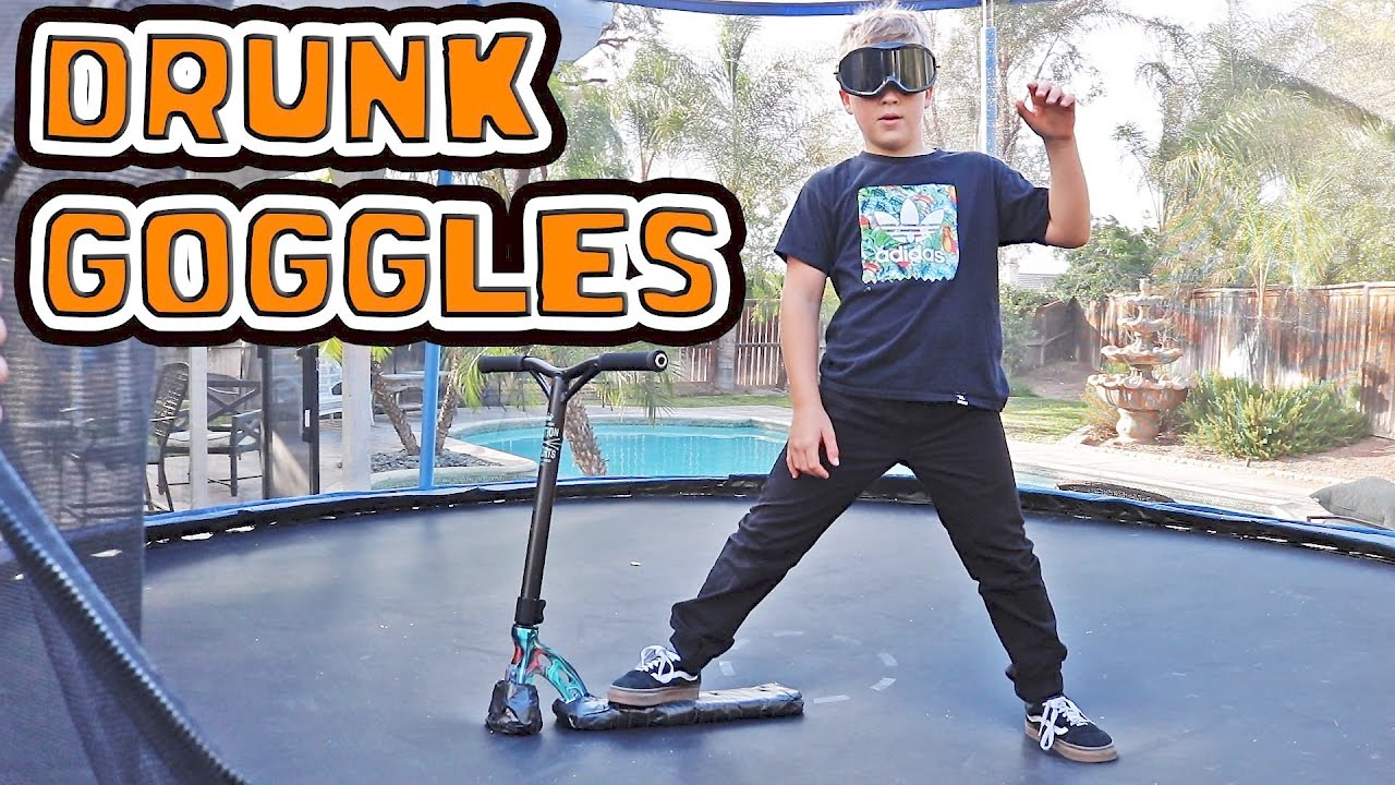 Trampoline Scooter Tricks With Drunk Goggles