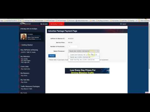 How to buy an ad pack in Traffic Monsoon using your balance plus a credit or debit card