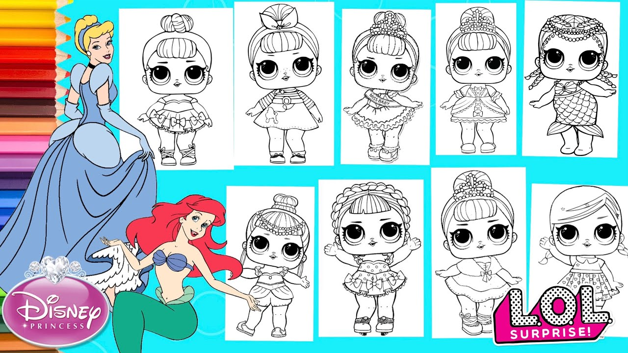 Lol Surprise Dolls Repainted As Disney Princesses Compilation Coloring Pages Youtube