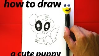 How to Draw a Cute Puppy with Cute big Eyes