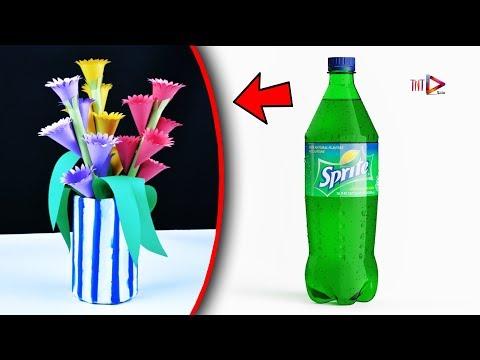 How to Make Flower Vase Using Plastic Bottle   DIY Flower Pot out of Waste Newspaper   ফুলদানী তৈরি