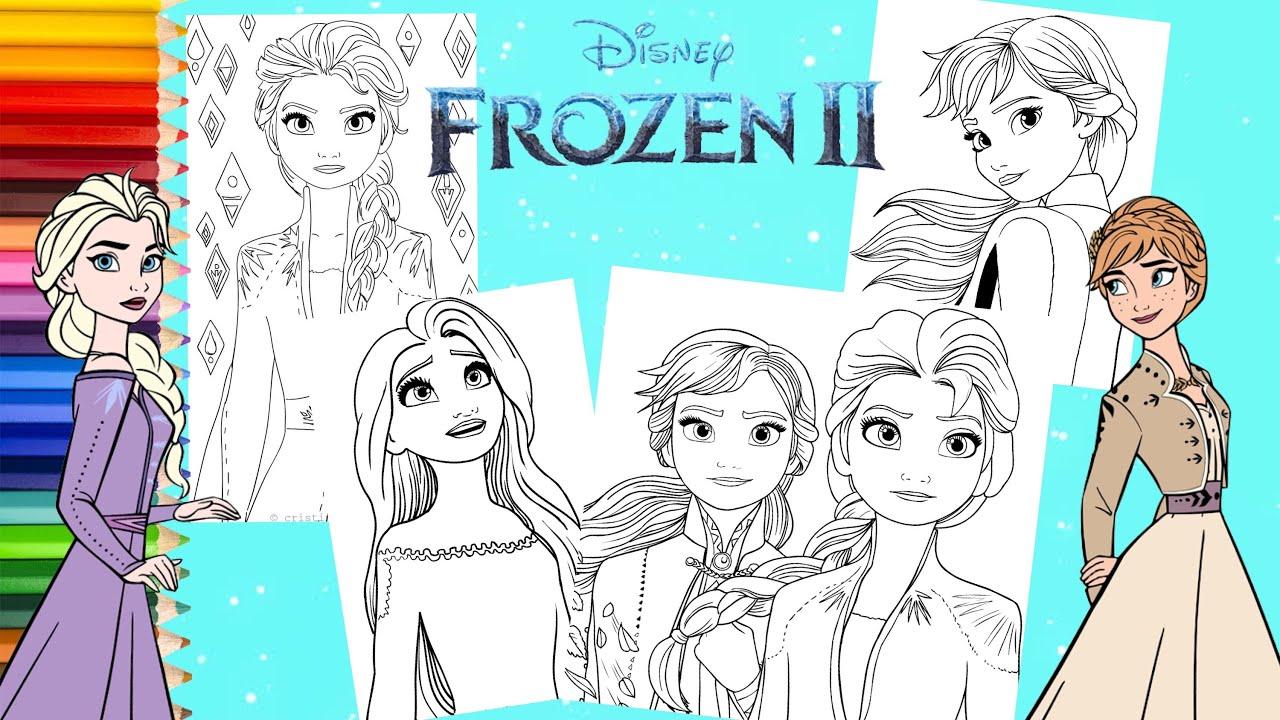 Coloring Disney Frozen 2 Princess Anna Elsa Coloring Pages Youtube