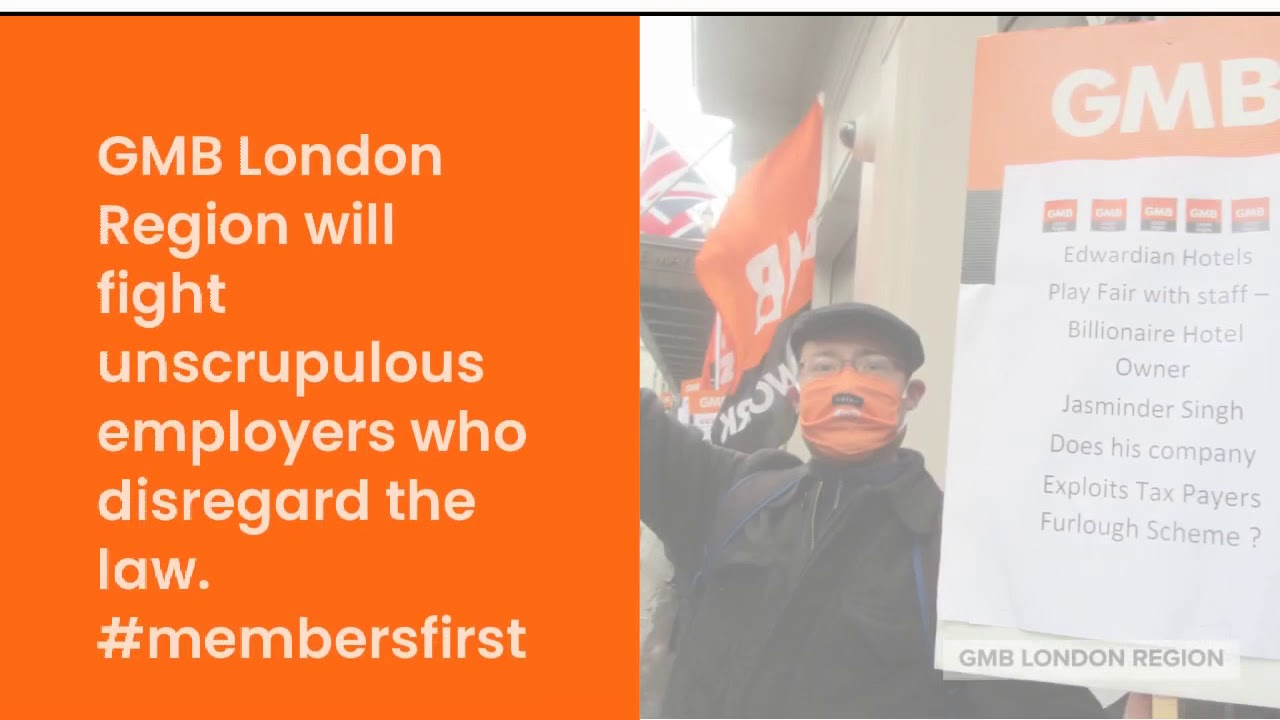 GMB London demonstration Mayfair Hotel London