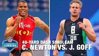 Cam Newton vs. Jared Goff 40-Yard Dash Simulcam Race | 2016 NFL Combine Face Off