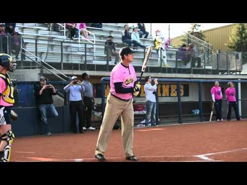 Michigan head coach Jim Harbaugh participates in home run derby