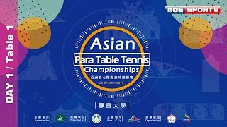 DAY1Table 12019亞洲身心障礙桌球錦標賽 Asian Para Table Tennis Championship