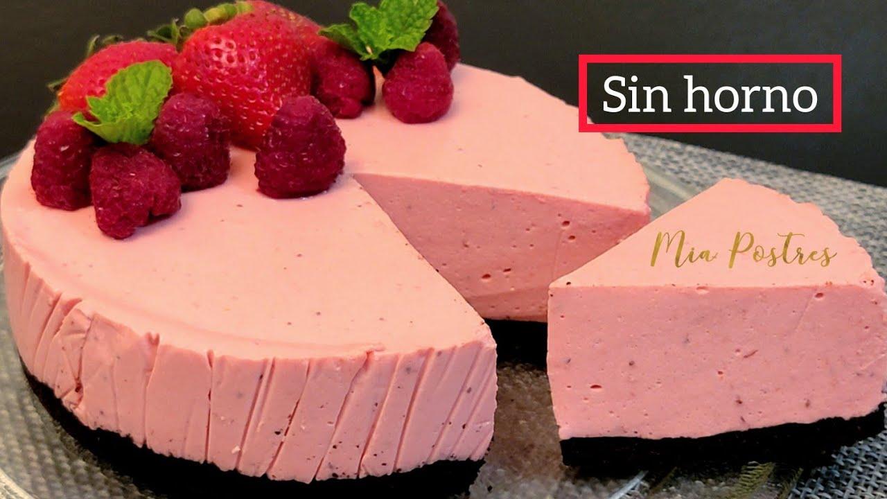 CHEESECAKE DE FRESA SIN HORNO!! SIN BATIDORA Y SIN molde❗🔝 mia postres.