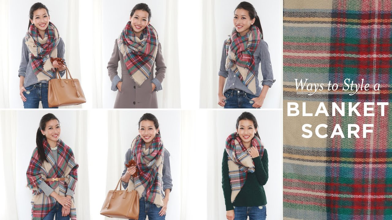 How to style / tie a blanket scarf - YouTube