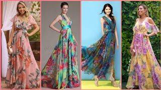 Stylish & Gorgeous Floor Length Chiffon Floral Maxi Dresses For Women