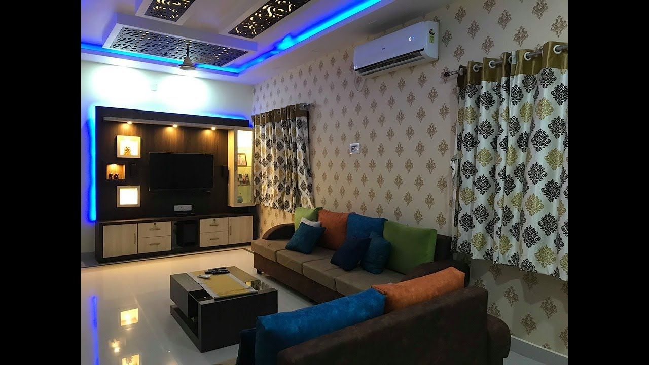 9' x 9' Living / Hall Room Design 919  MDF jali ceiling / Tv unit /  Sofa Design 919