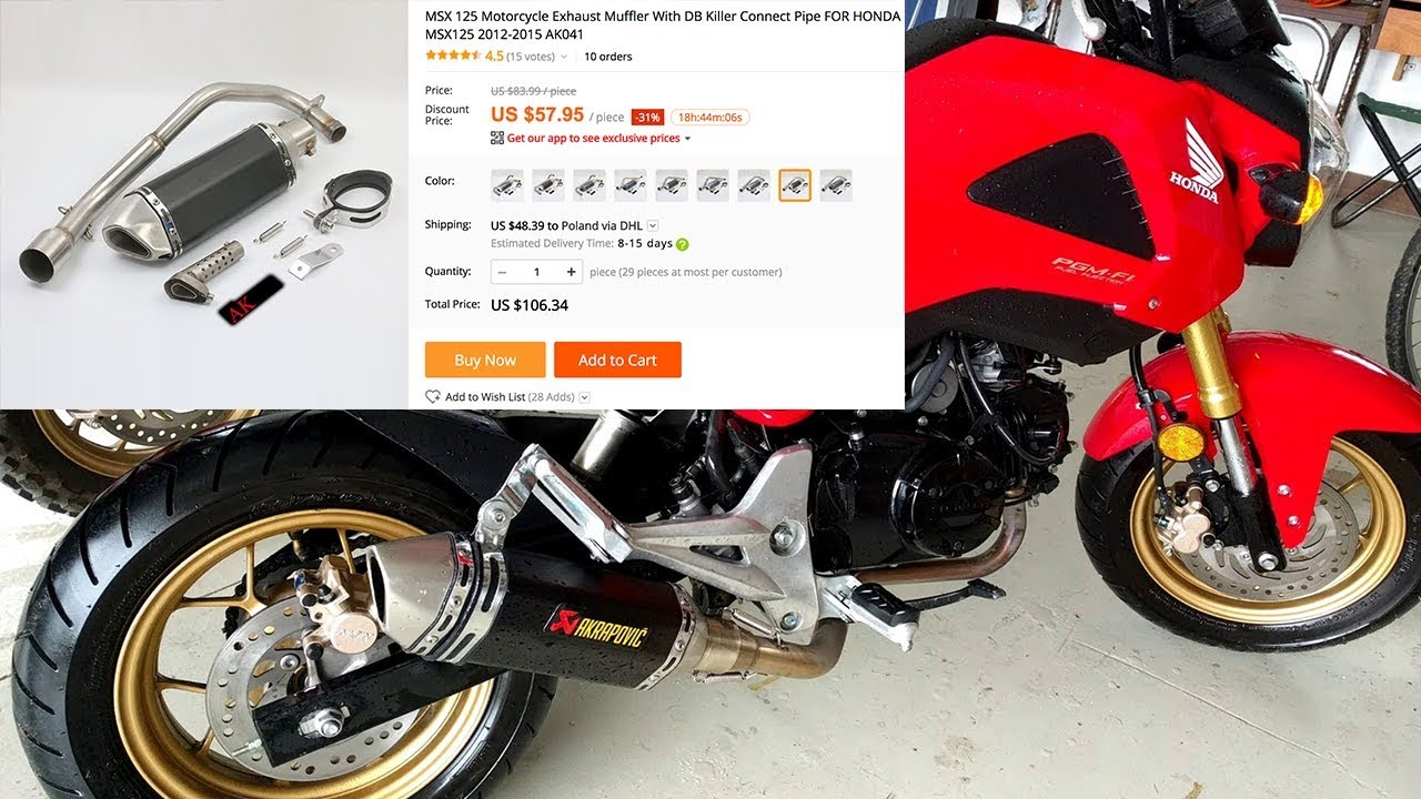 msx 125 grom aliexpress akraprovic exhaust sound youtube. Black Bedroom Furniture Sets. Home Design Ideas