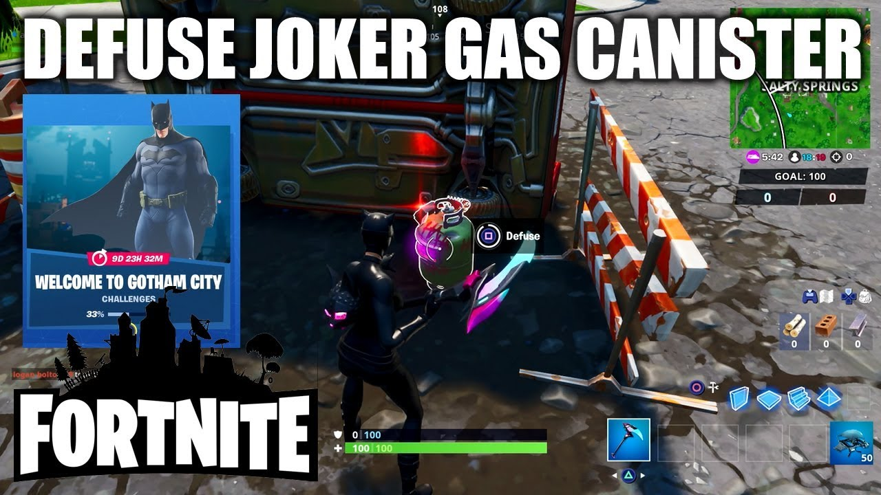 Fortnite Defuse Joker Gas Canisters All Easy Locations Welcome To Gotham City Challenge