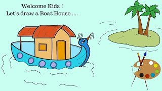 How to draw | Boat House | Island with Palm trees | Peacock Boat | Coloring Pages for kids | Drawing