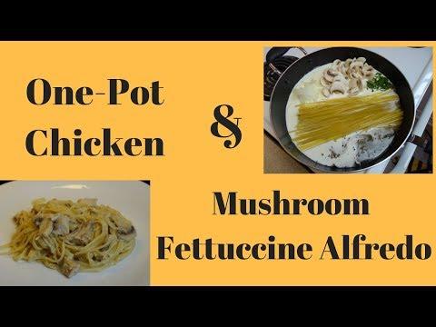 One Pot Chicken and Mushroom Fettuccine Alfredo