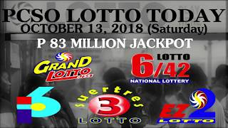 Lotto Result Today, October 13, 2018 (Saturday) - PCSO LOTTO TODAY