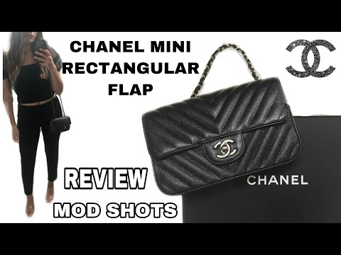 Chanel Rectangular Chevron Mini Black Iridescent Caviar