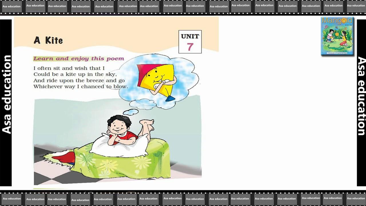Poem 7 A Kite (English - Marigold, Grade 1, CBSE) Poem in Easy Hindi/English