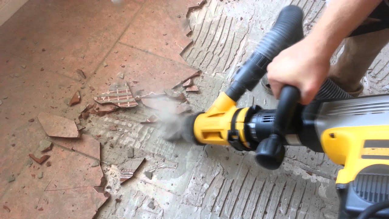 Chipping Tile Dewalt D Dust Extraction YouTube - Best demolition hammer for tile removal