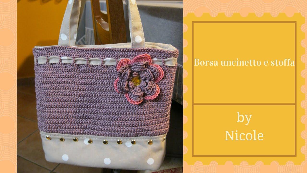 Top Tutorial- Borsa uncinetto e stoffa / Crochet bag - YouTube ED06