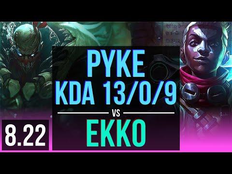 PYKE vs EKKO (MID) | KDA 13/0/9, Legendary | Korea Diamond | v8.22