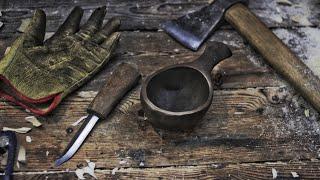 Wood mug (Kuksa). H๐w to make a kuksa. Burning. Khanty Knife.