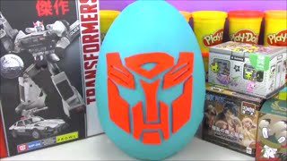 Giant Transformers Play Doh Surprise Egg With Cool Toys from Minecraft Big Hero 6 and More!