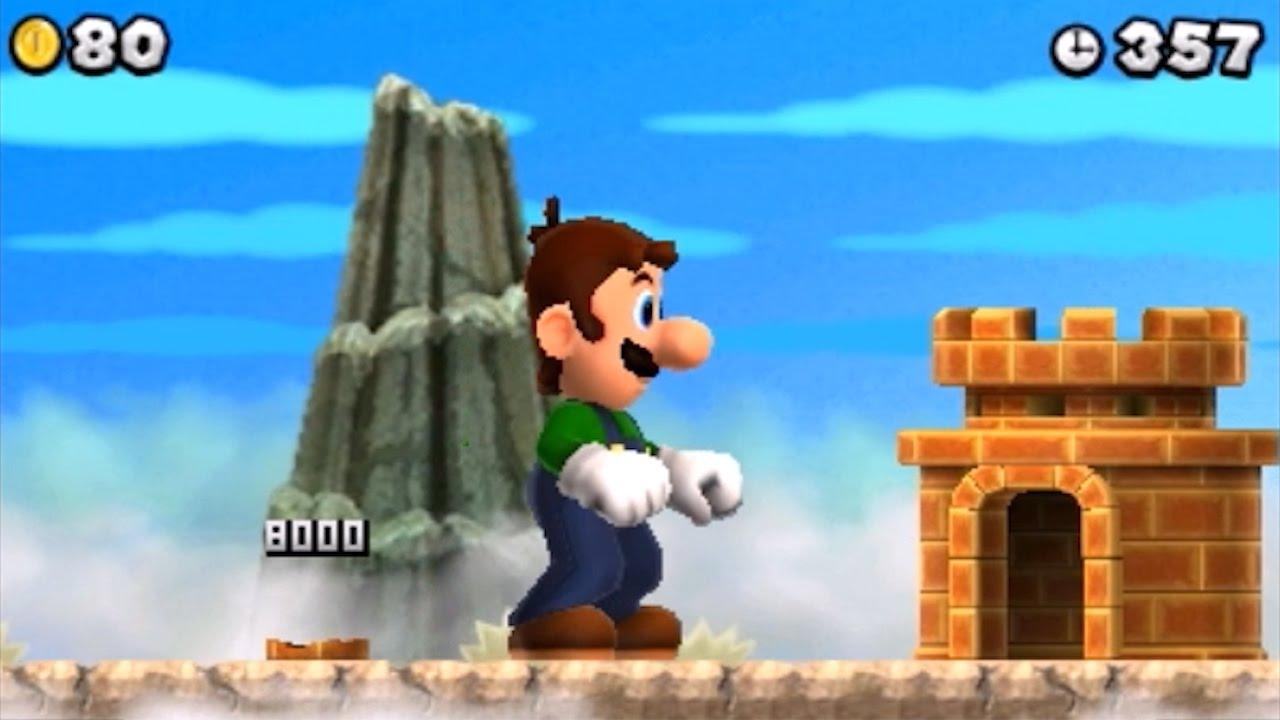 New Super Mario Bros  2 (3DS) 100% Walkthrough Part 10 - 5 Shiny Stars &  Luigi Gameplay