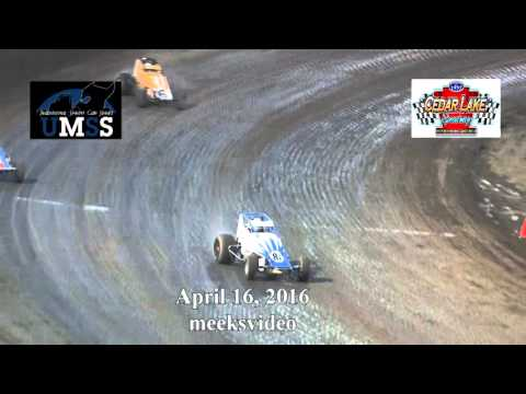 April 16, 2016 UMSS Wingless Sprints Cedar Lake Speedway