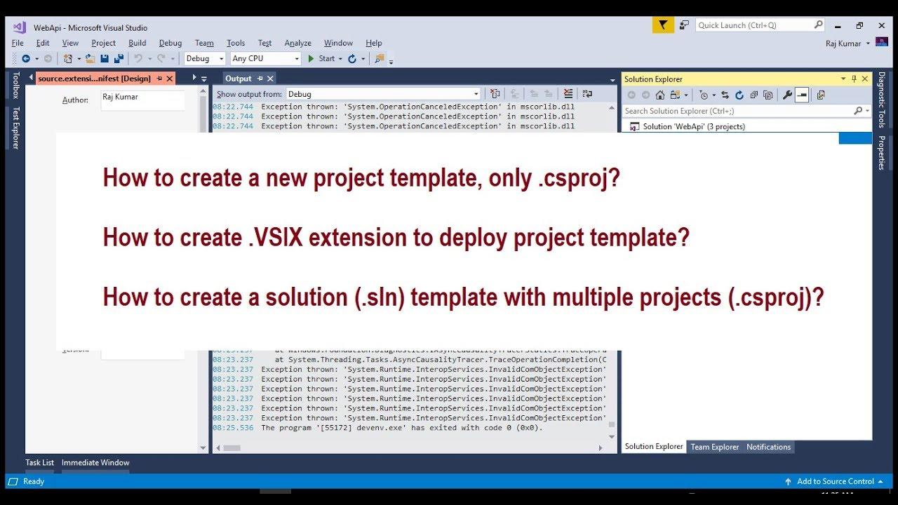 create visual studio project templates extension for solution