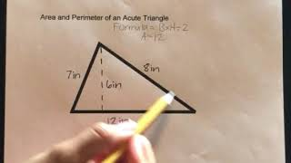 How to find tнe Area and Perimeter of an Acute Triangle