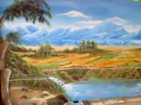 Lukisan pemandangan gunung/sawah. - YouTube