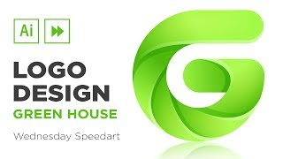 Illustrator Speedart : Green House | Gradient Logo Design